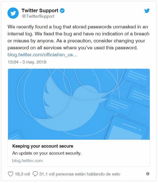 Twitter pide a los usuarios que cambien su contraseña por una falla