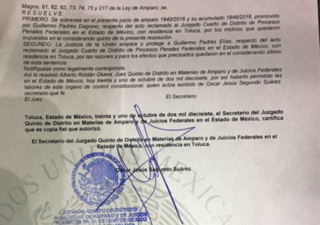 Conceden amparo a Guillermo Padrés por delincuencia organizada